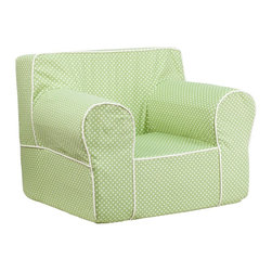 Flash Furniture - Flash Furniture Children's Chairs Kids Large Chairs X-GG-NRG-TOD-DIK-HC-EGL-GD - This comfy foam chair is a fun piece of furniture for children to enjoy for reading and relaxing. The lightweight design with carrying handle will allow this chair to be toted in several locations. The slipcover can be removed for cleaning or spot cleaned upon accidents. [DG-LGE-CH-KID-DOT-GRN-GG]