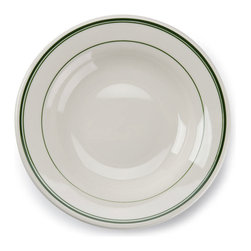Tuxton - Green Bay 9 oz Rim Soup Wide Rim in Eggshell White with Green Bands - Case of 24 - From breakfast to lunch to dinner, the deep hue of the green lines create that extra special detail to enhance your guests experience.