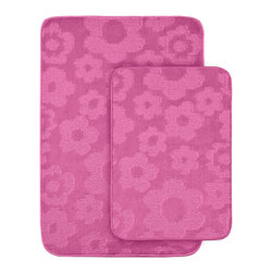 Sands Rug - Petal Pink Bath Rug (Set of 2) - Protect young toes and add comfort and color to your child's or pre-teen's bath with these fun, durable and machine washable bath rugs. The polypropylene fabric is stain-resistant and soft, while the non-skid rubber backing holds rugs in place for safety.