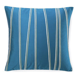 Jiti - Diagonal Blue Pillow - Diagonal Blue Pillow. Made from 100% Cotton. Invisible Zipper. DRY CLEAN ONLY. Insert is made of 95% feathers and 5% down.