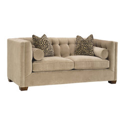 Lazar Industries - Tommy Studio Sofa in Bellisimo Pearl - Tommy Studio Sofa: A transitional beauty, the Tommy features various pillow options along a booth style tufted seating, adorned with welted detail and exceptional tailoring