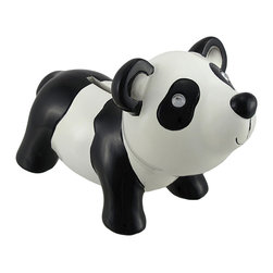 Cute and Cuddly Panda Bear Coin Savings Piggy Bank - Panda bears are often looked at as cute and cuddly bears who love to snack on bamboo! This adorable panda bear coin bank will have you and your children smiling all the way to the bank! Cast from resin and hand painted with love, this coin bank features a plastic drain plug on its underside for easy access to its contents. This coin bank measures 7 1/2 inches in length, 5 inches tall, and 4 inches wide making it the perfect size for a functional decorative item.