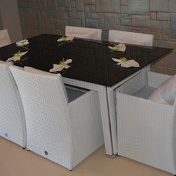 Outdoor Furniture - Gorgeous outdoor 7 piece dining set with black tempered glass top.