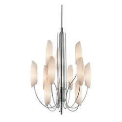 KICHLER - KICHLER 42215CH Stella Contemporary Chandelier - The Stella(TM) Collection artfully draws the eye skyward. Gracefully arched supports beautifully cradle the curved Satin Etched Cased Opal Glass. Vertical lines offset smooth oval shapes, creating this exceptional 12 light, 3 tier chandelier. 25 inch diameter. Body height 38.5 inches. Overall height 76.5 inches. Includes 74 inches of extra lead wire. Uses 12 - 60W max bulbs. For extra 12 inch stems, order 2999CH and for additional chain order 2996CH.