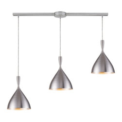 Elk Lighting - Spun Aluminum Linear 3-Light Pendant in Aluminum - Spun aluminum 3-light pendant in aluminum