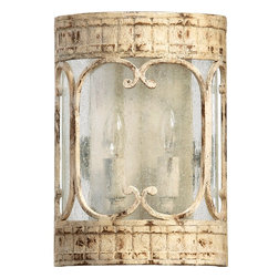 Quorum Lighting - Quorum Lighting Florence Traditional Wall Sconce X-07-2-7365 - A flush mount design allows for a more integrated look to this Quorum Lighting wall sconce, from the Florence Collection. The beautiful design is paired with aged and distressed Persian White finishing, curled accents and candelabra lights behind clear hurricane glass.