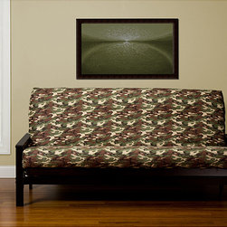 None - Galaxy Camo 6-inch Deep Full-size Futon Cover - Pump up the volume of your decor with this camo-patterned full-size futon cover.  Six inches deep and made of softly sueded polyester for comfort,this cover unzips on three of the sides for easy removal when it comes time for washing.
