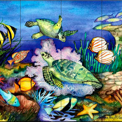 The Tile Mural Store (USA) - Tile Mural - Green Sea Turtles  - Kitchen Backsplash Ideas - This beautiful artwork by Kathleen Parr McKenna has been digitally reproduced for tiles and depicts a sea turtle with several tropical fish.  Our tiles with sea turtles are a great way to add something unique to your kitchen backsplash tile project. Make your tub and shower surround bathroom tile project exceptional with one of our decorative tile murals of sea turtles. Decorative tiles with turtles are beautiful and timeless and will never go out of style. Make a seaturtle tile mural part of your bathroom wall tile and enjoy this tile mural every day in your newly renovated bathroom.