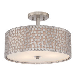 Quoizel - Quoizel Old Silver Semi-Flush Mts. - SKU: CKCF1717OS - This collection features confetti-like metal chips encompassing an inner off-white linen shade. The old silver finish and frosted diffuser completes the design of this funky-chic series. Confetti equals fun.