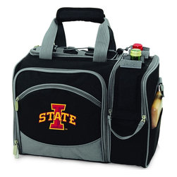 Picnic Time - Iowa State Malibu Picnic Pack in Black - Insulated pack with picnic service for 2 made of 600D polyester canvas. The elegant and unique Malibu shoulder pack is perfect for picnics, concerts, or travel. This tote has an integrated wine storage section and a spacious food storage section with removable liner. The adjustable shoulder strap makes it easy to carry. A wonderful gift idea.; College Name: Iowa State; Mascot: Cyclones; Decoration: Embroidered; Includes: 2 Wine glasses (acrylic), 2 Napkins (cotton 14 x 14 in.), 1 Corkscrew (waiter style stainless steel), 1 Cutting board (wood 6 x 6 in.), 1 Cheese knife (stainless steel w/wood handle), 2 Plates (melamine 9 in.), 2 Ea. Knives forks & spoons (stainless steel), 2 Napkins (cotton 14 x 14 in.)