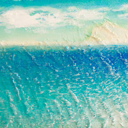 """Gwen Duda Studios - Caribbean Beach 8"""" x 6"""" Original Acrylic Painting - This painting started by first being sculpted with light moulding paste onto canvas board that, when dried, was then painted with Golden acrylics. Soft gels were also used which give an almost pearlescent quality to the painting. This is truly a beautiful, contemplative piece with a three dimensional effect."""