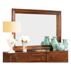 American Drew - American Drew Miller's Creek Landscape Mirror in Cherry - The large six legged dresser with a double bank of solid wood drawer fronts pairs with a three drawer nightstand and a panel bed with finals and overlay moldings. A bachelor�s chest with a gently curved front adds a touch of shape, along with the button tufted linen upholstered sleigh headboard. Interchangeable footboards allow optional looks with both headboards. The drawer chest features dividers for more organized storage, while the media chest offers a range of flexible storage. The rich, aged cherry finish has a clean, soft appeal, with moderate distressing. The rustic veneers and solids provide variations and visual interest to the simple lines of the pieces. The hardware consists of an antique brass ring pulls, knobs, and key escutcheons.
