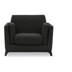 Bryght - Ceni Liquorice Armchair - The Ceni Liquorice Armchair fuses the classic with the modern, with its neutral tone, plush seating, sleek track arms and clean design lines. Its beautifully crafted wooden base with slanted legs enhances its strong and sturdy construction, while its detachable cushion seats, backrests and armrests allow you to snuggle up comfortably. Team the Ceni Liquorice Armchair with the Ceni Liquorice love-seat or Ceni Liquorice sofa for a perfect look