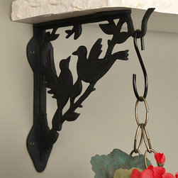 Love Birds Cast Iron Hanging Plant Shelf Bracket - Add a heartwarming touch to your home with the Love Birds Cast Iron Hanging Plant Shelf Bracket. Includes fastening hardware.