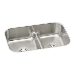 """Elkay - Elkay EAQDUH3421  Gourmet Undermount Two-Bowl Sink - Elkay's EAQDUH3421 is a Gourmet Undermount Two-Bowl Sink. This Gourmet sink is constructed of 18-gauge type 304 nickel-bearing stainless steel, and can be mounted under almost any surface. It features two 3-1/2"""" drain openings and an 8-3/4"""" bowl depth."""