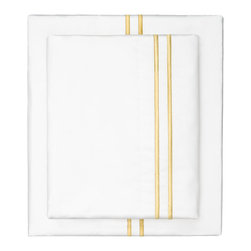 Crane & Canopy - Yellow Lines Embroidered Flat Sheet - Queen - The simplicity of clean lines makes our embroidered dual striped percale sheet set the ultimate source of luxury. Beautifully embroidered and luxurious, our marigold yellow satin-stitched embroidered sheets are woven from 400 thread count extra-long staple cotton.