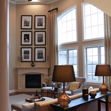 Transitional Family Room by Kristin Petro Interiors, Inc.