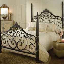Hillsdale - Parkwood Bed Set - Give your bedroom an elegant makeover with this Parkwood bed's classic four poster silhouette finished in rich-looking black gold. The set's metal headboard and footboard feature ornate scroll and fleur de lis elements that bring grace to your decor.