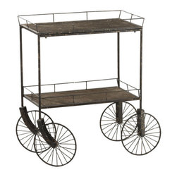 Spokes Industrial Cart - A kitchen cart is essential for petite kitchens--it's perfect for entertaining, as extra work and storage space, or as a portable bar. This one's antiqued, industrial charm is ramped up by the spindly frame and oversized spoked wheels.