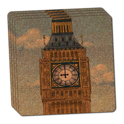 """Made on Terra - Big Ben Clock Tower London England Thin Cork Coaster Set of 4 - You're just cleaning up after your epic party when you realize it... something's different. Unlike all those other times, you're not mopping up cup condensation from your counters and tables. This time, everyone used a coaster. Everyone. Maybe it's because you handed out a coaster with every glass. No. You've tried that before. No, this time it's because of the actual coasters. You found the cutest Made On Terra printed cork coasters. You love that everyone commented on how unique they were,  from the light-weight, thin cork material to the printing that creates a cool and subtle effect. Plus, they're really absorbent, but dry quickly. And they're made from an eco-friendly, sustainable resource, so that makes you feel pretty great, too. Choose from Made on Terra's many fabulous cork coasters. Measures 4"""" x 4"""" x 1/8"""". Made of thin cork. Super cute and nicely absorbent. Sold in sets of four."""