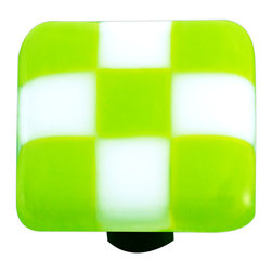 """Aquila Art Glass - Art Glass Checked Knob, Alum Post, Spring Green White Squares - To make our cabinet knobs and pulls, 2 to 5 pieces of glass are cut, cleaned, stacked together and placed into a kiln. The kiln goes up to 1450 degrees Fahrenheit, the glass becomes molten and fuses together to make one piece of glass. The glass is then cut out out to the required shape. Next the glass is placed back into a kiln and taken to 1300 degrees fahrenheit and the edges are """"fire polished"""". The glass spends about 48 hours in the kilns. Expect slight variations in color & size."""