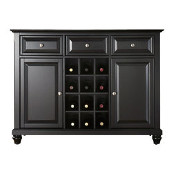 Crosley Furniture - Crosley Furniture Cambridge Buffet Server / Sideboard Cabinet in Black Finish - Crosley Furniture - Buffet Tables & Sideboards - KF42001DBK - Constructed of solid hardwood and wood veneers this Buffet Server / Sideboard Cabinet is designed for longevity. The beautiful raised panel doors & drawers provide the ultimate in style to dress up your home. The three deep drawers provide an abundance of storage space. Behind the two doors you will find adjustable shelves and storage space for things that you prefer to be out of sight. The center storage area is great for up to 12 bottles of wine or if you prefer remove the wine storage cubes to reveal an adjustable shelf. Style function and quality make this Buffet Server a wise addition to your home.