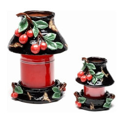 ATD - 7 Inch Large Multicolored Cherry Themed Jar Shade and Holder Set - This gorgeous 7 inch large multicolored cherry themed jar shade and holder set has the finest details and highest quality you will find anywhere! 7 inch large multicolored cherry themed jar shade and holder set is truly remarkable.
