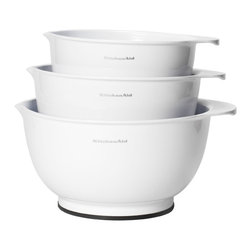 KitchenAid - Kitchen Aid Classic White Mixing Bowls (Set of 3) - Whip up something delicious with these handy mixing bowls from Kitchen Aid. These dishwasher-safe bowls feature non-slip bases and easy-pour spouts,which makes the work of cooking truly a joy.