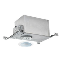Juno Lighting Group - 4-inch Low-Voltage Recessed Lighting Kit with Shower Trim - IC44N/441W-WH - This low-voltage recessed lighting kit features 4-inch insulation-ready housing and a perimeter frosted lens with white trim and 35-degree internal adjustment. The fixture is approved for use in wet locations. The housing can be completely covered with insulation. It is air-tight which reduces heating and cooling costs. It comes with a thermally protected magnetic transformer. The hangers are expandable up to 25 inches. Takes (1) 50-watt halogen MR-16 bulb(s). Bulb(s) sold separately. Dry location rated.