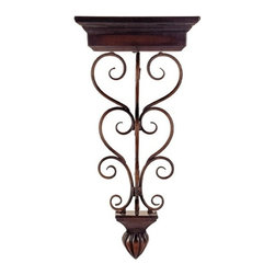 "IMAX - Wall Shelf - Wall shelf with iron scrollwork Item Dimensions: (31""h x 14""w x 8"")"
