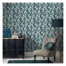 Graham & Brown - Capulet Wallpaper - A beautiful and classical heavyweight paper, with a timeless scroll wallpaper design, which brings a touch of drama to any wall. Highlights of gold and silver help to create a 3D effect and the embossed background is the perfect complimentary plain. This teal colourway will inject a real burst of colour and interest on to any slightly unloved wall or room.