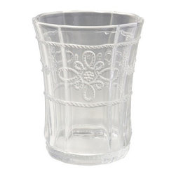 """Juliska - Juliska Colette Small Beverage Clear - Juliska Colette Sm. Beverage Clear. This hand-pressed glass may be petite in stature, but it is no shrinking violet. Sublimely durable, it packs a punch with divine design details and is perfectly fetching in Clear. Dimensions: 4.5"""" H Capacity: 10 oz"""