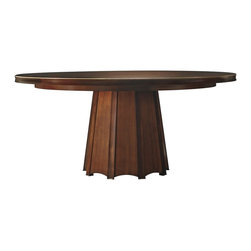 """Encircle Dining Table - Baker Furniture - The ultimate in understatement and elegant dining. This generous table has a subtle veneer patterned top that echoes the octagonal base. A sensual coved edge encircles the edge and can be accented with burnished gold leaf (3637G). Light plays off the rhythmic base of wide fluting that rests atop bronze pads. An exquisite statement piece for fine gatherings, the Encircle dining table includes an 18"""" leaf and has a starburst veneered Lazy Susan option (3637-1 or 3637G-1)."""