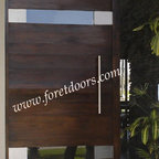 Modern contemporary entry doors - Contemporary solid wood entry door with stainless steel plaques, horizontal windows and stainless steel pull