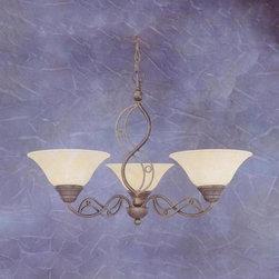 Toltec Lighting - Bronze Finish 3 Light Uplight Chandelier with Amber Marble Glass - 3 medium base 100 watt bulb(s) (not included).