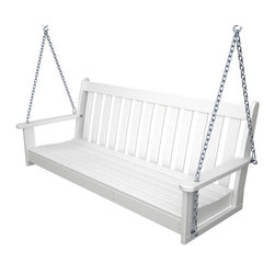 """Polywood POLYWOOD® Vineyard Swing in White - Enjoy the gentle motion of a classic porch swing with the cozy Vineyard Swing Collection and bring the relaxed atmosphere and rich character of the wine country to your outdoor living space. These stylish and eco-friendly pieces are constructed from HDPE material – an incredibly durable material made from post-consumer bottle waste, such as milk and detergent bottles. Solidly constructed with stainless steel hardware, these pieces will stand the test of time and can withstand the elements with very little maintenance.  The Vineyard Swing will not absorb moisture and requires no waterproofing, painting or staining to maintain their bright color for years. The colors are blended into the material all the way through, and are UV-resistant. Minimal assembly is required.  Available colors: Teak, White, and Black. Dimensions: 24""""H x 61""""W x 24""""D, Seat height – 17.25"""", Seat size – 17.25"""" x 55""""   Care: Wash with mild soap and water. They can be power washed at pressures below 1,500 PSI.  Please allow 2-3 weeks to ship."""