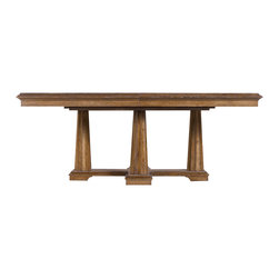 Stanley Furniture - Archipelago Calypso Pedestal Table - A walnut burl inlay imparts a rich complexity to the repeating arc-motif of the Calypso Pedestal Table. Resting on a cross-shaped base with four sturdy fluted columns, the design is decidedly elegant without being overly formal or ornate. In fact, the true charm of the piece lies in its focus on the quality and appearance of the wood, making it the center of attention. Made to order in America.