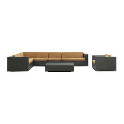 Modway - Palm 7 Piece Sectional Set in Espresso Mocha - Outfit your patio with an imaginative centerpiece that exceeds expectations. Finely constructed espresso rattan seating sectionals with all-weather mocha fabric cushions make the imaginative a reality in palpable distinction. From subterranean springs to desert terrains, enter a relationship of continuously elevated states and manifest freedom.