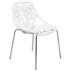 Dining Chairs Asbury Modern White Dining Chair with Chrome Legs