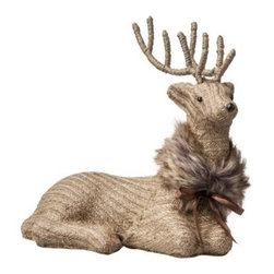 Threshold Sitting Deer Figural with Faux Fur, Brown - We love this natural-colored deer. It looks like it is covered in burlap, and the simple fur puts it over the top.
