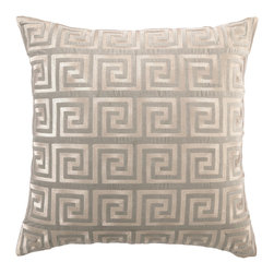"""DL Rhein - DL Rhein Greek Key Grey Embroidered Velvet Pillow - DL Rhein puts a luxurious spin on the classic pattern of the Greek Key pillow. Embroidered with sophisticated grey stitching on a grey velvet pillow, this simple design accents contemporary decor with grace and style. 20"""" x 20""""; Velvet pillow with embroidered detail; Feather down insert included; Dry clean only"""