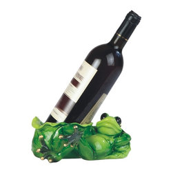 GSC - 7.25 Inch Green Frog Laying Down Wine Holder - This gorgeous 7.25 Inch Green Frog Laying Down Wine Holder has the finest details and highest quality you will find anywhere! 7.25 Inch Green Frog Laying Down Wine Holder is truly remarkable.