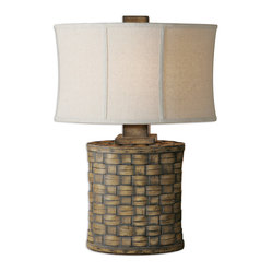 Uttermost - Cestino Woven Table Lamp - The beach is calling you. The one in the islands. The one you went to last winter when the weather was not-so-picture-perfect. Remember how you loved the idea of bringing the outdoors in? This lamp, with its light pecan finish and gray wash, will do just that.