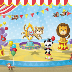 Circus Mural - 7'w x 4'h.  Other sizes available. Step right up - the circus is in town! The panda ringmaster directs the action of a seal, tiger, monkeys and a bear on a unicycle in this colorful mural. This mural comes in two sizes, however custom sizes can be requested, as well as custom placement of some of the circus animals to accommodate windows and doors. The artwork is based on an original mural by artist Glennis McClellan.