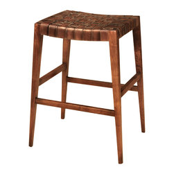 TerraSur - 30-inch Max Leather Woven Bar Stool - Are you looking for a barstool that's a little more interesting than the usual wood-with-round-top options out there? Made in Argentina, this barstool's hand-woven leather seat offers comfort and style.