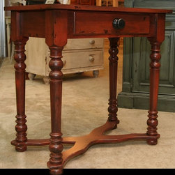 """British Traditions - 1 Drawer Rectangular Side Table w X-Molded Feet (Wild Blueberry) - Finish: Wild Blueberry. Each finish is hand painted and actual finish color may differ from those show for this product. Rectangular side table. Comes with 1 drawer. Country style. Turned legs. """"X"""" molding at feet. Can double as a sofa table. Minimal assembly required. 30 in. L x 18.5 in. W x 30 in. H (20 lbs.)The Verona side table can double as a small sofa table. It comes with one drawer and a decorative X connecting the feet."""