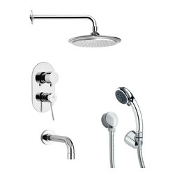 Remer - Round Tub and Shower Faucet with Multi Function Hand Shower - Multi function tub and shower faucet.