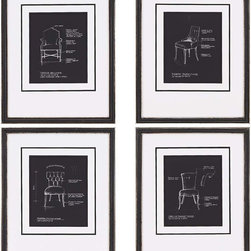 Paragon Decor - Chairs on Black Set of 4 Artwork - From design sketches by Candice Olson.  Features bottom weighted matting in white.