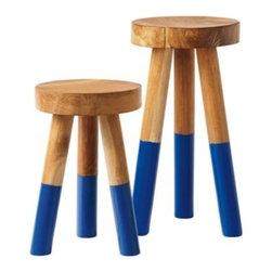 Serena & Lily - Dip Dyed Stools Cobalt - Reclaimed teak branches get a second life. This sturdy stool is shaped by hand with a smooth wax finish, leaving all the natural imperfections that we love about raw wood intact. The legs are then dipped in glossy cobalt for a slightly modern edge. Because of the handcrafted nature of each stool, no two are exactly alike.