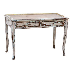 Uttermost - Uttermost Honovi Distressed Writing Desk - Honovi Distressed Writing Desk by Uttermost Artisan Crafted From Plantation-grown Mango Wood With Mahogany-stained Mindi Veneer, Hand Painted And Distressed In Holland Gray Finish, Layered With Hints Of Ivory And Blue.